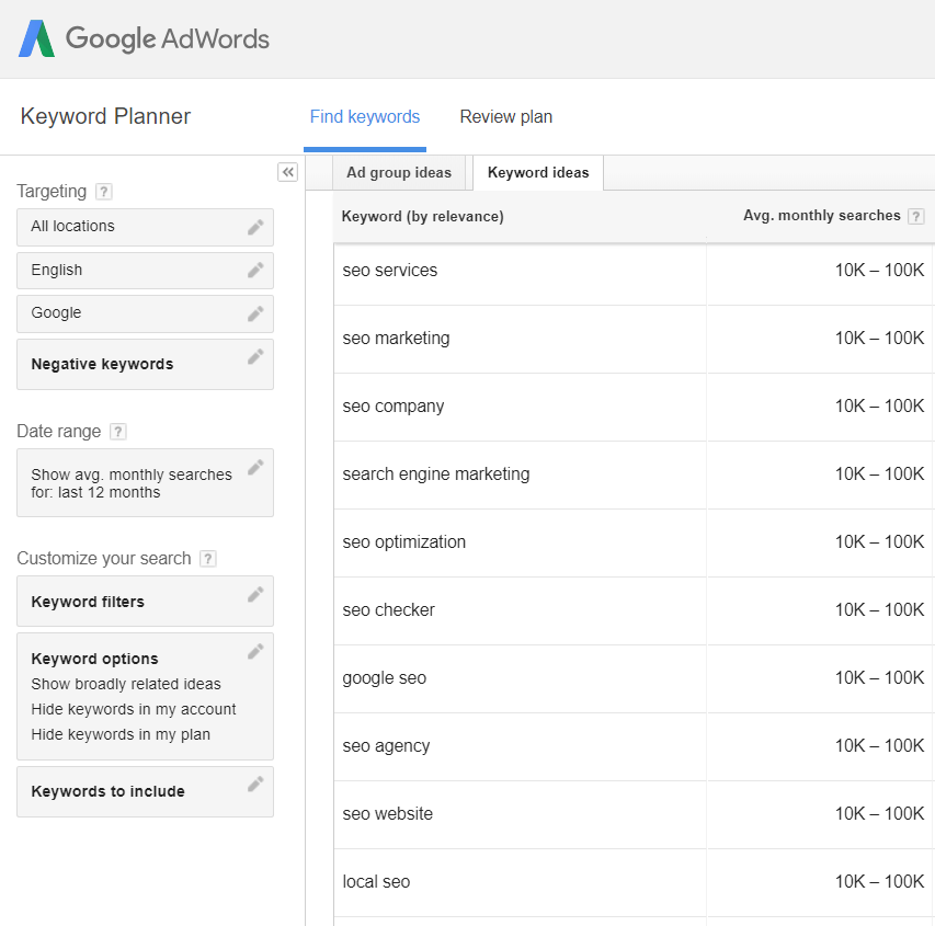 Search Volumes displayed as ranges by Google Adwords