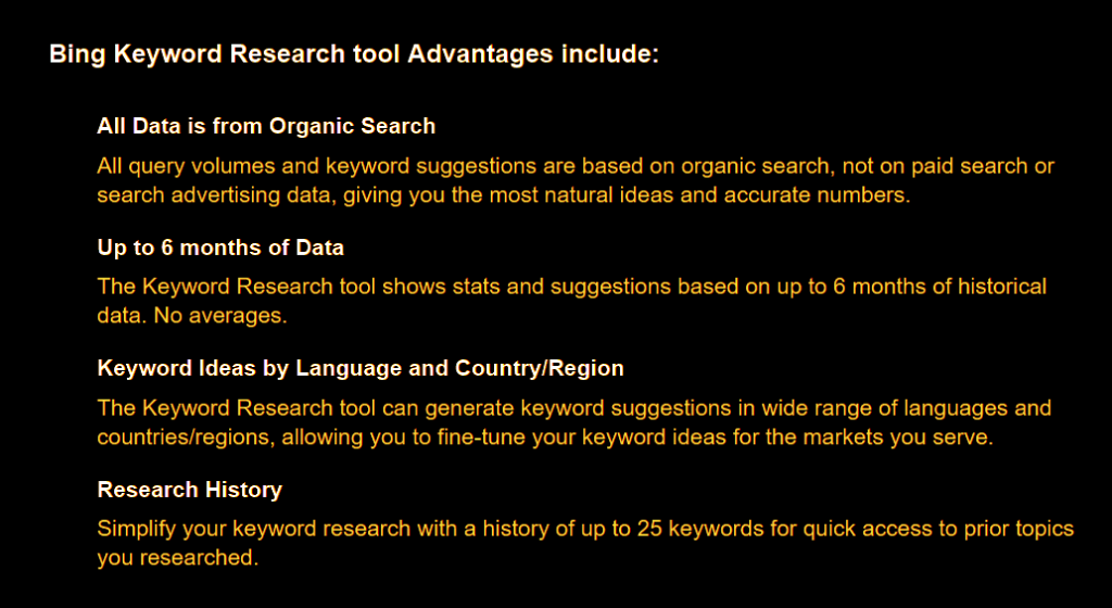 Advantages of Microsoft Bing's Keyword Research Tool