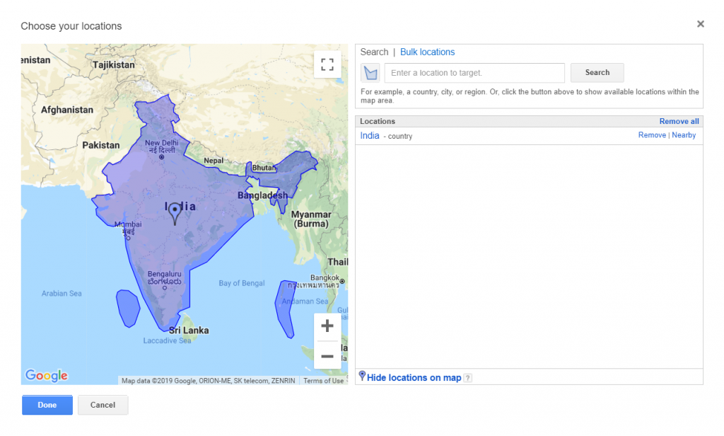 Google Adwords' UI for filtering search volumes by location