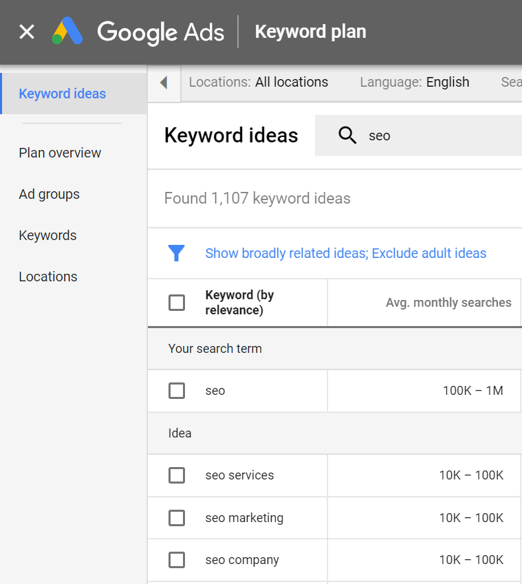 How the Modern Keyword Planner of Google Adwords looks
