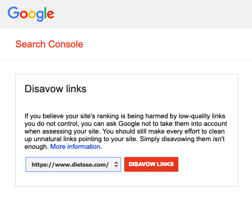 Disavow Links Tool in Google Search Console